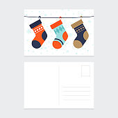 Merry Christmas and happy new year postcard design template background