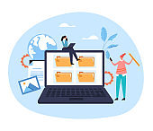 Laptop pc file organization web service archive website document concept. Vector flat graphic design illustration