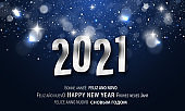 Happy New Year greeting card in different languages. PF 2021.