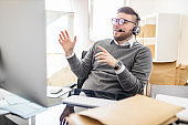 Salesman working at office