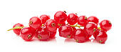 bunch of red currant berries isolated on white background