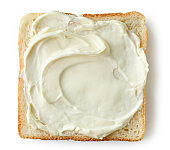 toasted bread slice with cream cheese