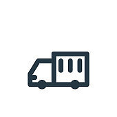 cargo truck icon vector from transportation concept. Thin line illustration of cargo truck editable stroke. cargo truck linear sign for use on web and mobile apps, logo, print media..
