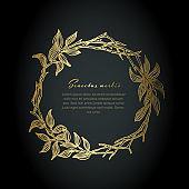 Minimalist golden floral wreath flyer