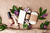 Cosmetic nature skincare and essential oil aromatherap, organic natural science beauty product Herbal alternative medicine, mock up, eco-friendly sustaianble packaging, self-care focused