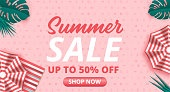 Summer sale vector banner background. Summer sale discount text in empty space. Vector illustration