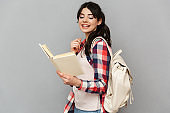 Cheerful young lady student