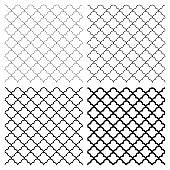 Set of seamless arabic geometric ornaments in black and white.Four thickness options.