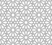 Seamless arabic geometric ornament in black and white.Fine lines.