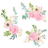 vector drawing flowers set