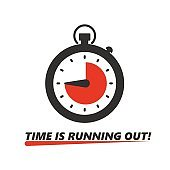 Stopwatch icon with text Time Is Running Out and red pie chart. Clock counter. Faster timer vector illustration