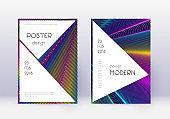Stylish cover design template set. Rainbow abstrac