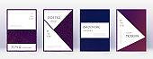 Stylish brochure design template set. Violet abstr