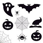 Halloween symbols collection. Trick or treat icons set. Bat, ghost, spiders, pumpkin, cobweb, witch hat. Decoration graphic elements. Vector illustration.