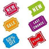 Set of flat design vintage sale badge stickers. Vector illustration.