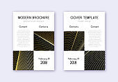 Business cover design template set. Gold abstract