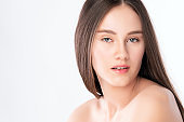 Beautiful Young Woman with Clean Fresh Skin, on white background, Face care, Facial treatment. Cosmetology, beauty and spa. women portrait.
