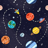 Cosmic fabric for kids. Bright childish tile.
