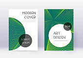Trendy cover design template set. Green abstract l