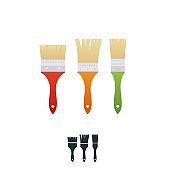 A house painter and decorator brushes with colorful handles.