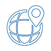 Location search line icon / outline vector