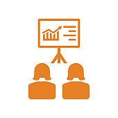 Business Presentation Icon / orange color