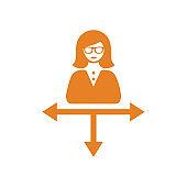 Work, direction icon / orange color