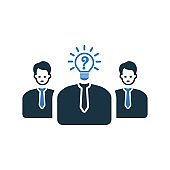Business thinking, teamwork icon design