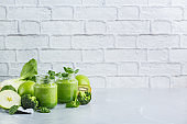 Green smoothie with organic ingredients, vegetables