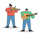 Musical Education Concept. People Are Learning To Play Different Musical Instruments. Students Have A Group Music Lesson Play Violin And Guitar. Cartoon Linear Outline Flat Style. Vector Illustration