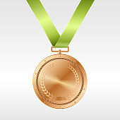 Realistic bronze medal on green ribbon: award for third place in competition