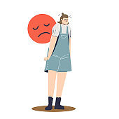 Sad and depressed woman suffering from pms syndrome. Cartoon girl in bad mood