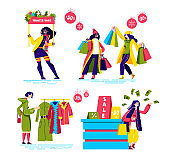 Winter shopping sales set with cartoon female characters buying clothes on discounts