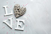 Valentines day holiday text word love with heart