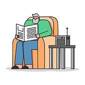 Concept Of Elderly People Leisure. Senior Man Is Reading Newspaper, Listen To The Radio Sitting In Armchair. Pensioners Pastime at Senior Home. Cartoon Linear Outline Flat Style. Vector Illustration