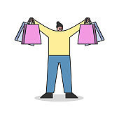 Woman holding shopping bags happy. Girl customer with purchases on sale or holiday discounts