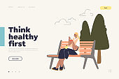 Healthy eating landing page with girl enjoying yogurt and fresh fruits sitting on bench in park