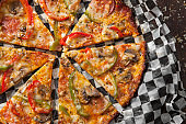 Cheesy Fried Crust Skillet Pizza (no Dough) with Pepperoni, Mushrooms and Peppers