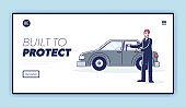 Car dealer hold keys of new auto or vehicle for rent. Car dealership company website landing page
