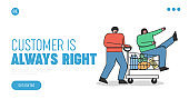 Online shopping landing page design. Grocery store website element with happy customers cartoons