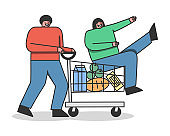 Cartoon man riding woman in supermarket shopping cart. Happy couple buying grocery products