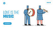 Music band website landing page design. Marching orchestra musicians playing drums and flute