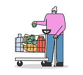 Concept Of a Quarantine During Coronavirus. Customer Elderly Woman With Trolley Full Of Food Supply Wearing Protective Mask To Prevent Virus Infection. Cartoon Linear Outline Flat Vector Illustration