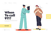 Call 911 landing page concept with woman having heart attack and chest pain and doctor cardiologist
