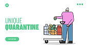 Concept Of a Quarantine During Coronavirus. Website Landing Page. Elderly Woman With Trolley Full Of Food Supply Is Wearing Protective Mask. Web Page Cartoon Linear Outline Flat Vector Illustration