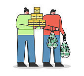 Food Donation And Shopping Concept. Volunteers Man And Woman Are Standing Holding Lots Of Food Supply. People Are Donating Food To Poor People. Cartoon Linear Outline Flat Style. Vector Illustration