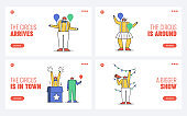 Set of landing pages for circus website with cartoon clown characters on template background