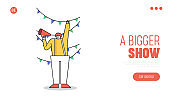 Landing page for circus show with funny clown shouting in loudspeaker. Comedy carnival event
