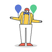 Cartoon character wearing clown costume with air balloons on white background