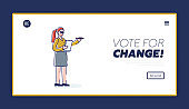 Vote for change template landing page with election and democracy concept